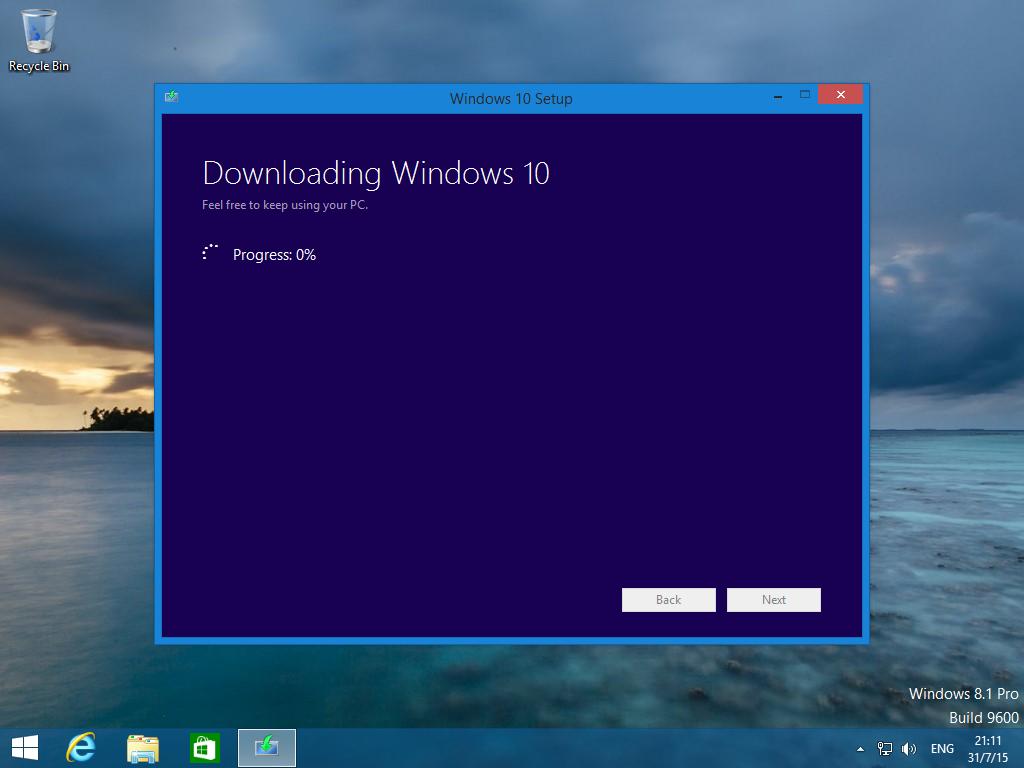 Installatiescherm van Windows 10 upgrade