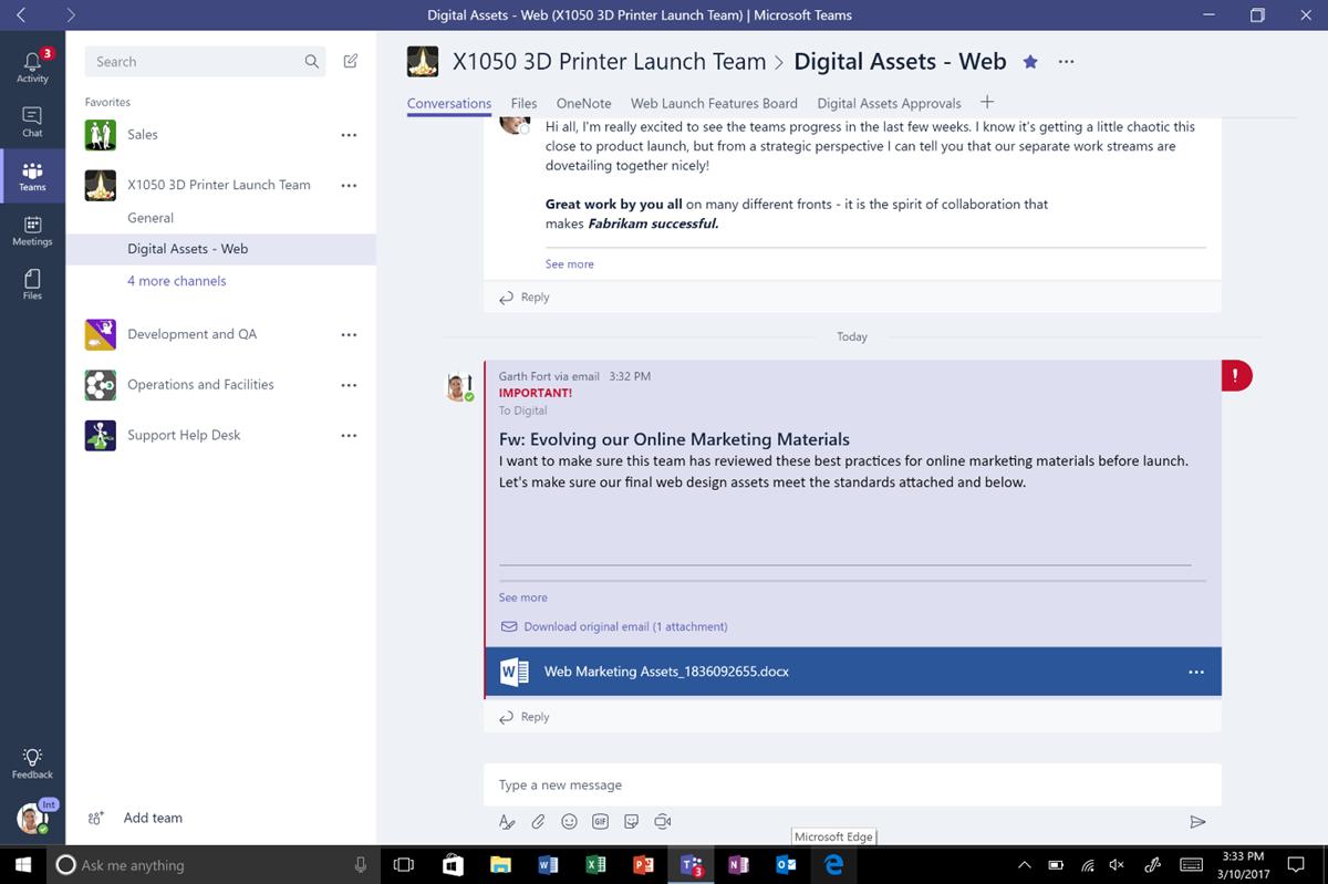 Schermafbeelding van Microsoft Teams